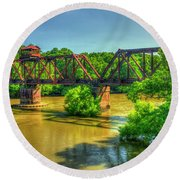 A Time Gone By Railroad Bridge Lumber City Georgia Round Beach Towel