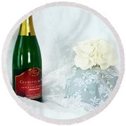 A Toast To Love And Laughter Round Beach Towel