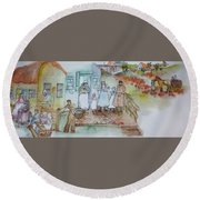 a touch of Holland scroll Round Beach Towel