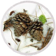 A Touch Of Moss Round Beach Towel
