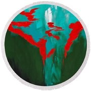 A Touch Of Red Round Beach Towel