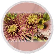A Touch Of Yellow On Pink Mums Round Beach Towel