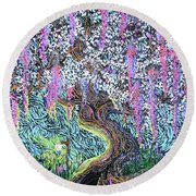A Tree Of Many Colors Round Beach Towel
