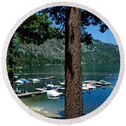 A Trees View Of Fallen Leaf Lake Round Beach Towel