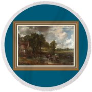 A Tribute To John Constable Catus 1 No. 1 -the Hay Wain L B With Alt. Decorative Ornate Frame. Round Beach Towel