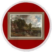 A Tribute To John Constable Catus 1 No.1 - The Hay Wain L A  With Alt. Decorative Ornate Printed Fr  Round Beach Towel