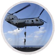 A Trio Of Marines Fast Rope Round Beach Towel