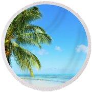 A Tropical Palm Tree Beach Round Beach Towel