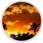 A Tropical Sunset Round Beach Towel