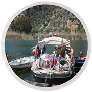 A Turkish Fishing Boat On The Dalyan River Round Beach Towel