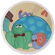 A Turtles Friends Round Beach Towel