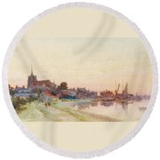 A Twighlight Harbour Scene Round Beach Towel