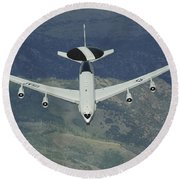 A U.s. Air Force E-3 Sentry Airborne Round Beach Towel