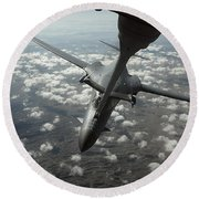 A U.s. Air Force Kc-10 Refuels A B-1b Round Beach Towel by Stocktrek Images