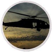 A U.s. Army Uh-60 Black Hawk Leaves Round Beach Towel