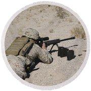 A U.s. Marine Zeros His M107 Sniper Round Beach Towel by Stocktrek Images