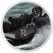 A U.s. Navy Landing Craft Air Cushion Round Beach Towel