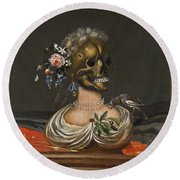A Vanitas Bust Of A Lady With A Crown Of Flowers On A Ledge Round Beach Towel