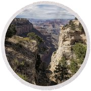 A Vertical View - Grand Canyon Round Beach Towel