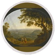A View Across The Alban Hills With A Hilltop On The Right And The Sea In The Far Distance Round Beach Towel
