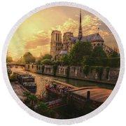 A View From Bridge Pont De L Archeveche, Archbishop Bridge, Infront Of Notre Dame De Paris Cathedr Round Beach Towel