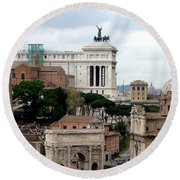 A View From Palatine Hill In Rome Italy Round Beach Towel