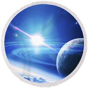 A View Of A Planet As It Looms In Close Round Beach Towel by Kevin Lafin