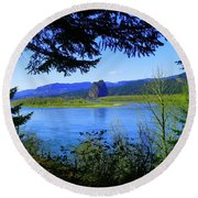 A View Of Beacon Rock Round Beach Towel