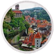 A View Of Cesky Krumlov And Castle In The Czech Republic Round Beach Towel