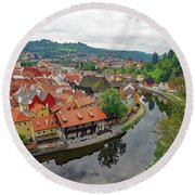 A View Of Cesky Krumlov And The Vltava River In The Czech Republic Round Beach Towel