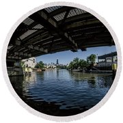 A View Of Chicago From Under The Division Street Bridge Round Beach Towel