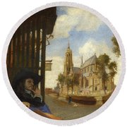 A View Of Delft With A Musical Instrument Seller's Stall Round Beach Towel