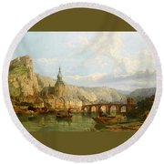 A View Of Dinant Round Beach Towel