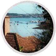 A View Of Mylor Harbour Round Beach Towel