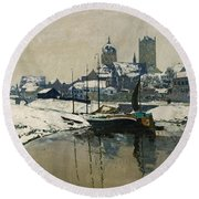 A View Of Neuss In Winter Round Beach Towel