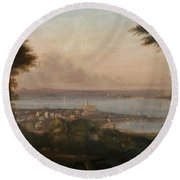 A View Of Penzance Round Beach Towel