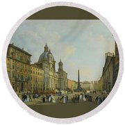 A View Of Piazza Navona With Elegantly Round Beach Towel