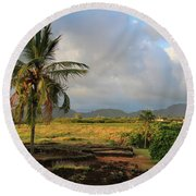 A View Of Prince Kuhio Park Round Beach Towel