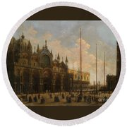 A View Of St. Mark's Basilica Round Beach Towel
