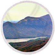 A View Of Table Rock South Carolina Round Beach Towel
