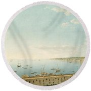 A View Of The Bay Of Naples Looking Southwest From The Pizzofalcone Toward Capo Di Posilippo Round Beach Towel