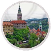 A View Of The Cesky Kromluv Castle Complex In The Czech Republic Round Beach Towel