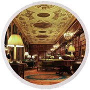 A View Of The Chatsworth House Library, England Round Beach Towel