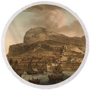 A View Of The Rock Of Gibraltar From The Spanish Lines 1782 Round Beach Towel