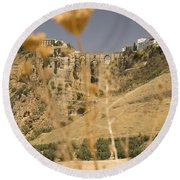 A View Of The Tajo De Ronda And Puente Nuevo Bridge Serrania De Ronda Andalucia Spain Round Beach Towel