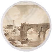 A View Of The Tiber From The North Bank Round Beach Towel