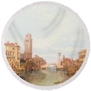 A View Of Verona Round Beach Towel by George Clarkson Stanfield