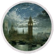 A View Of Westminster Abbey And The Houses Of Parliament Round Beach Towel