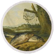 A View On The River Derwent At Belper Derbyshire With A Salmon And A Grayling On The Bank Round Beach Towel