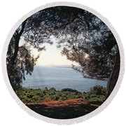 A View To The Sea Round Beach Towel